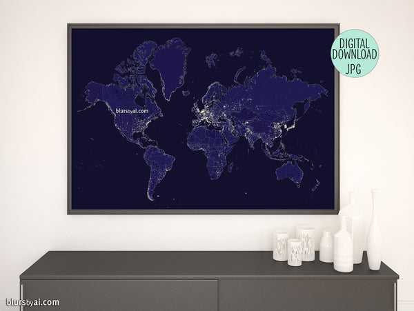 "Printable world map with night lights and outlined countries in navy blue, ""Moritz"""