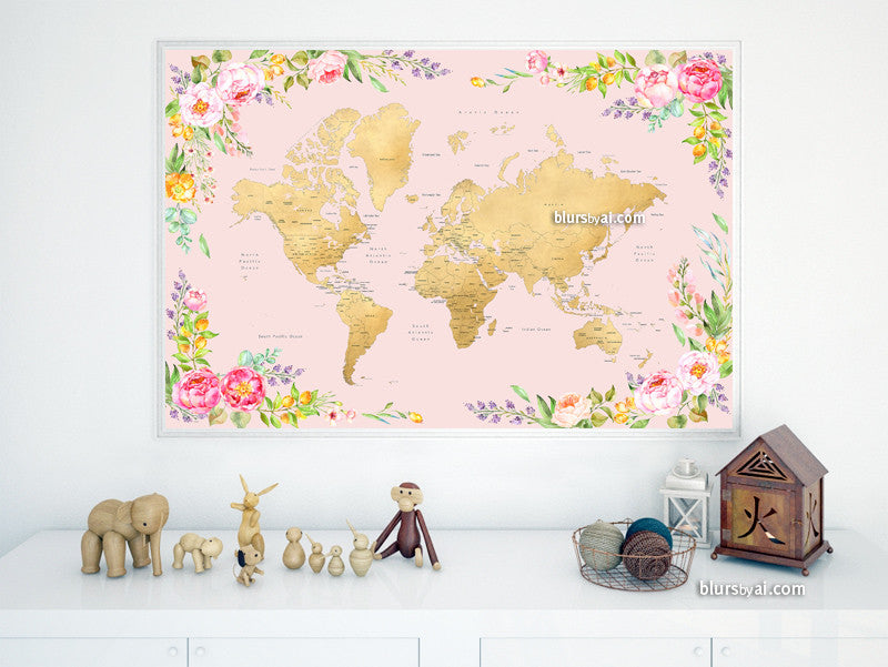 "Printable floral world map with countries and states labelled, large 60x40"" - For personal use only"