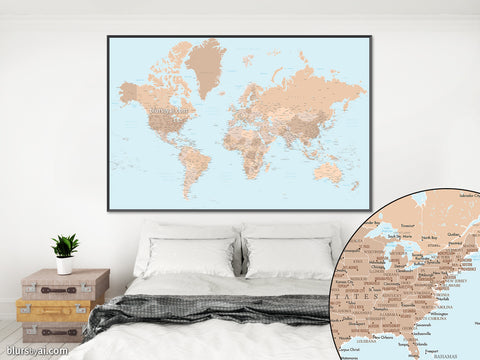 "PRINTABLE highly detailed world map with cities, states and state capitals. ""Tahoe"""