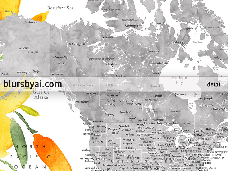 Adventure awaits, PRINTABLE floral world map in gray watercolor with watercolor California poppies