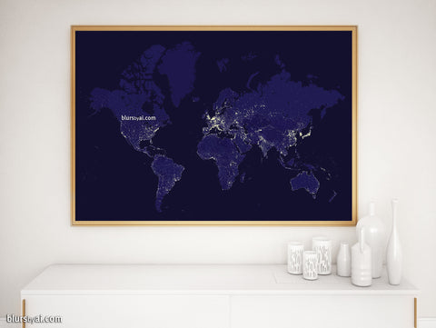 "Printable world map with night lights in navy blue, ""Moritz"""