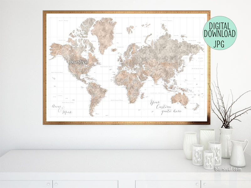 "Customized PRINTABLE highly detailed world map with cities. ""Abey"""