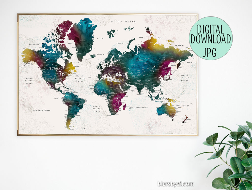 "36x24"" and 60x40"" printable world map with cities in colorful watercolor style"