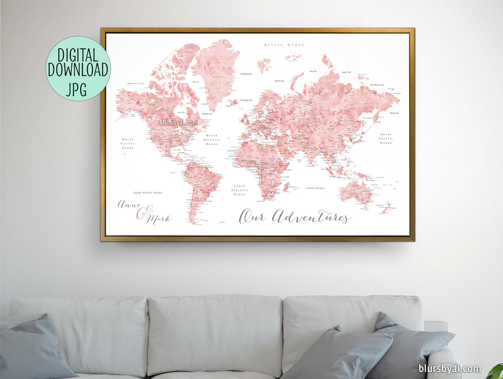 "Personalized - pink watercolor printable world map with cities, capitals, countries, US States... labeled. ""Alheli"""
