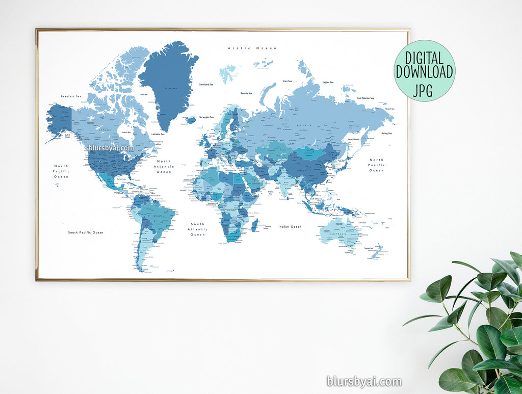 "60x40, 36x24"" Printable world map with cities in shades of blue"