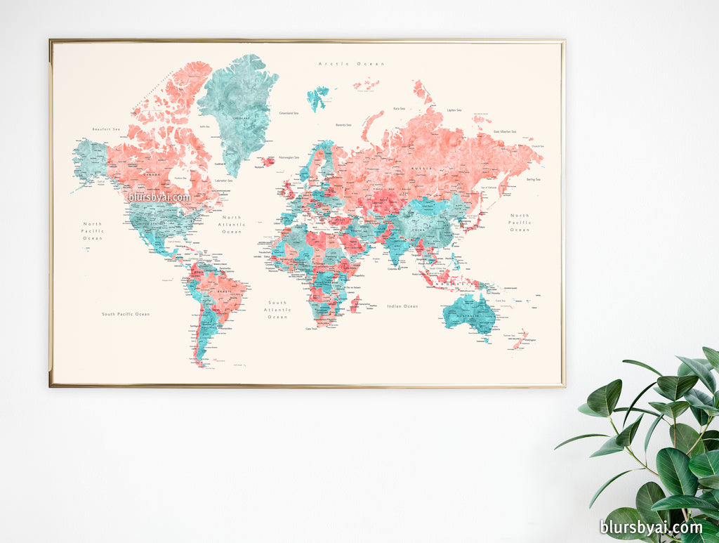 "36x24"" printable world map with cities, no quote, ""Charlotte"""