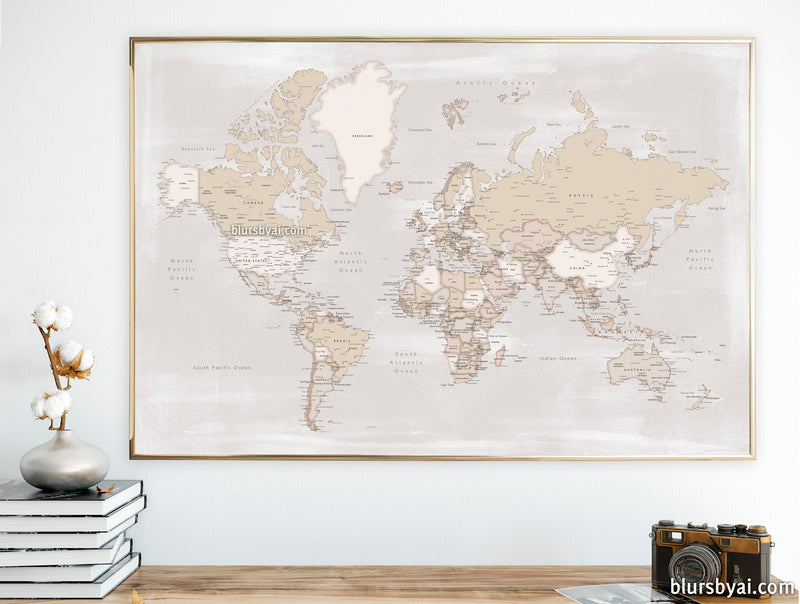 "Printable world map with cities in rustic style, 36x34"" - For personal use only"