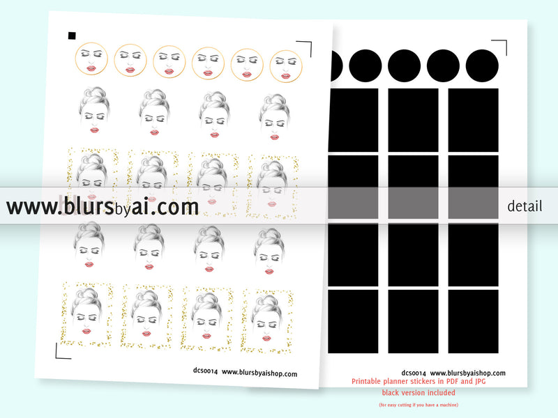 Black eyeliner, red lips, printable planner stickers, full boxes & circles, hand illustrated stickers