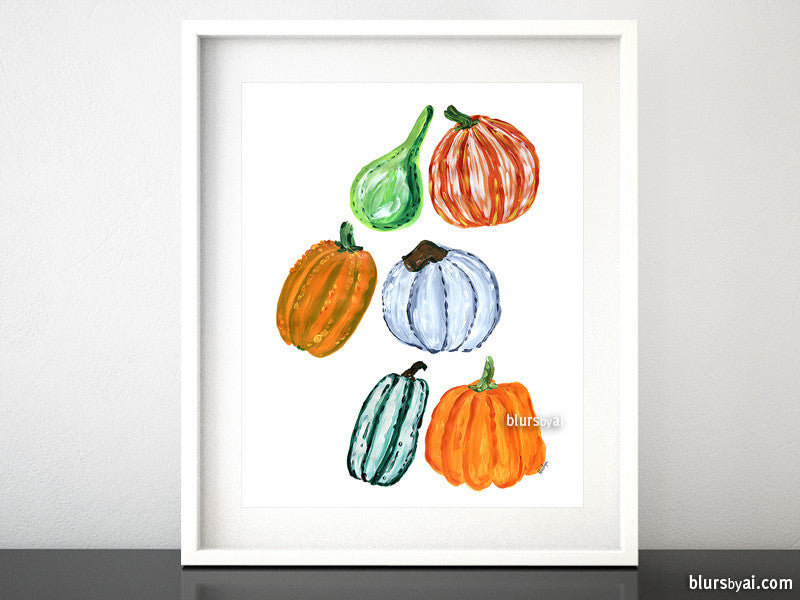 Colorful pumpkins illustration printable art - Personal use