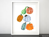 Colorful pumpkins illustration printable art