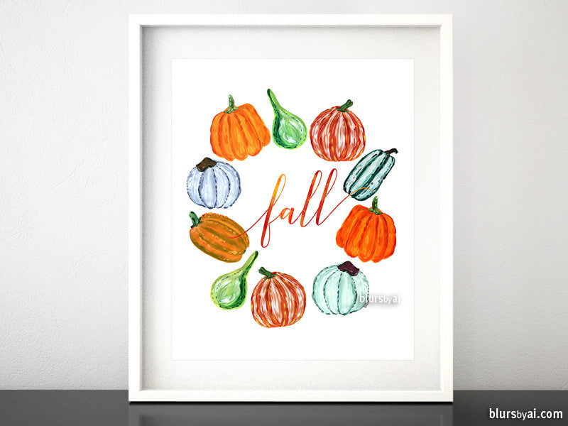 Wreath of pumpkins printable art - Personal use