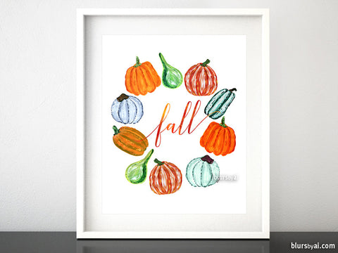 Wreath of pumpkins printable art