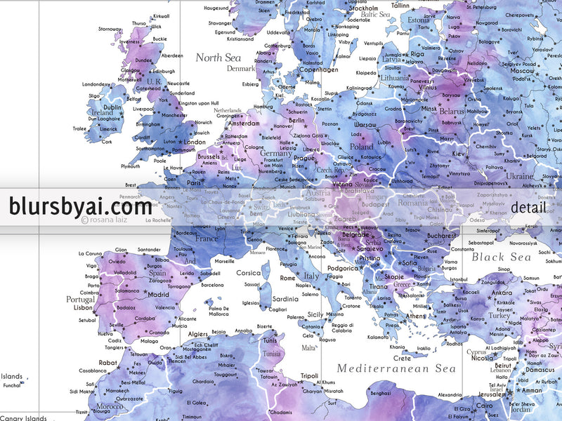 "Custom world map print - highly detailed map with cities in light blue and purple watercolor. ""Raul"""