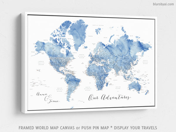 Custom world map with US state capitals, cities, states and countries,  canvas print or push pin map in soft blue watercolor. \