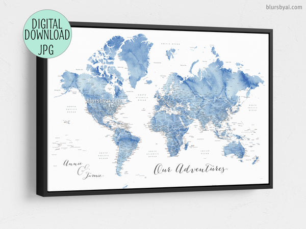 Custom quote - blue watercolor printable world map with US state capitals,  states, cities, countries....\