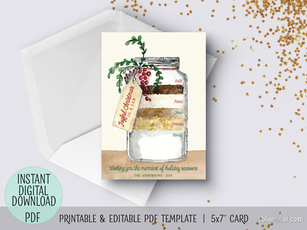 Editable pdf Christmas card template: Recipe for a joyful Christmas in a jar