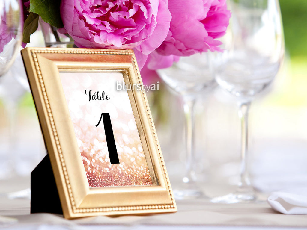 "4x6"" table numbers in rose gold glitter and black calligraphy text, printable table numbers"