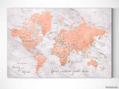 "Custom world map with cities, canvas print or push pin map in rose gold and gray marble. ""Janine"""