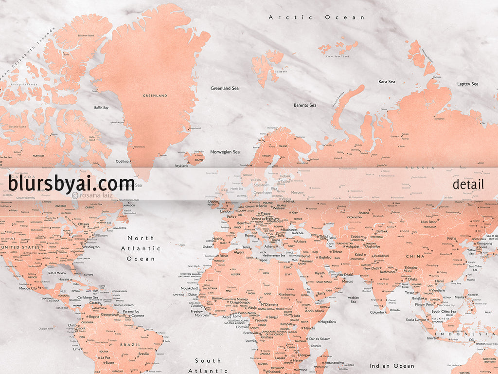 Gabon World Map.Custom Map Print World Map With Cities In Rose Gold And Gray Marble