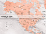 "Personalized map print: world map with cities in rose gold and gray marble. ""Janine"""