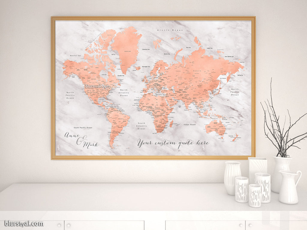 "Custom map print: world map with cities in rose gold and gray marble. ""Janine"""