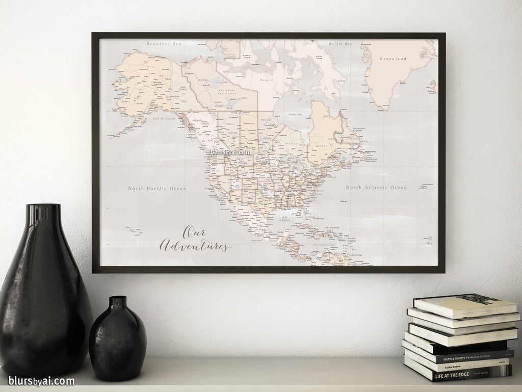 Custom quote - vintage and distressed highly detailed North America printable with cities, capitals, countries, US States... labeled. Lucille.