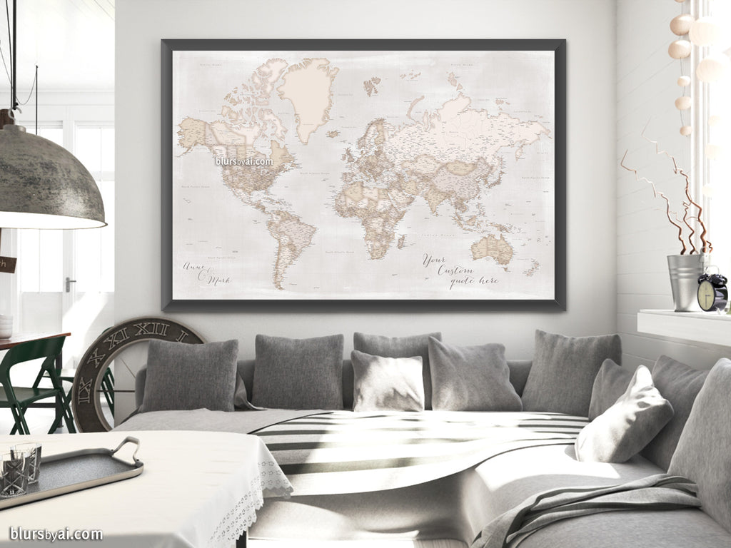 "Custom world map print - highly detailed rustict world map with cities. ""Lucille"""