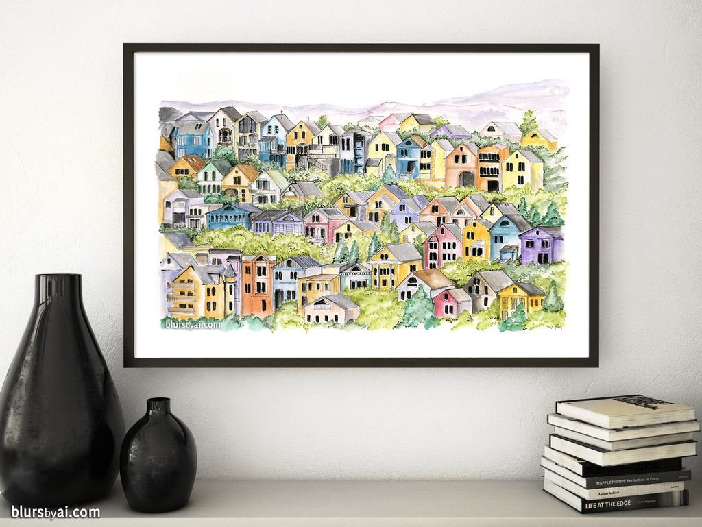 Printable architectural sketch: San Francisco colorful victorian houses