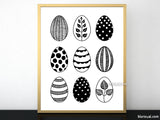 9 Easter eggs printable, black and white scandinavian decor