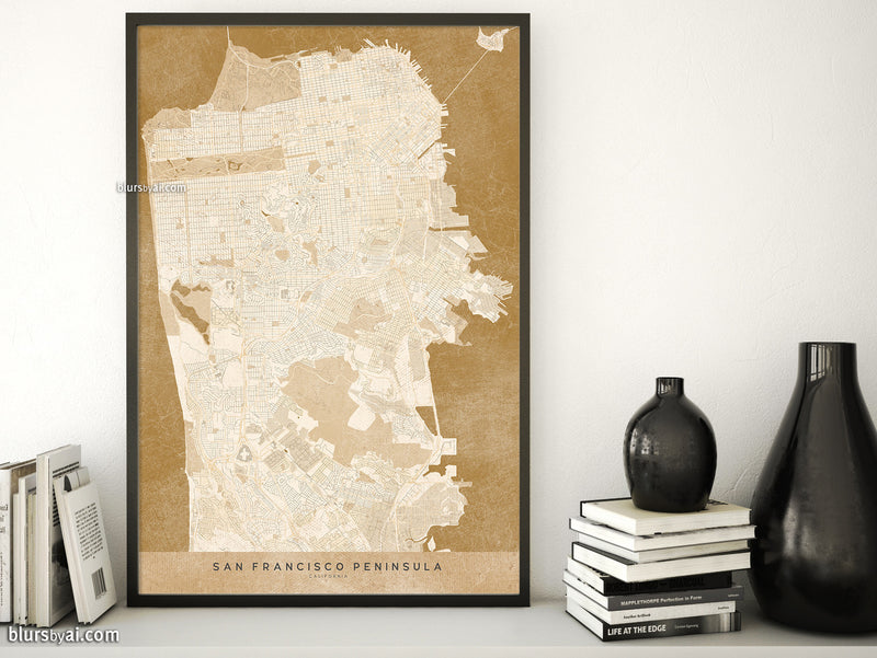 Printable map of San Francisco Penninsula in sepia vintage style