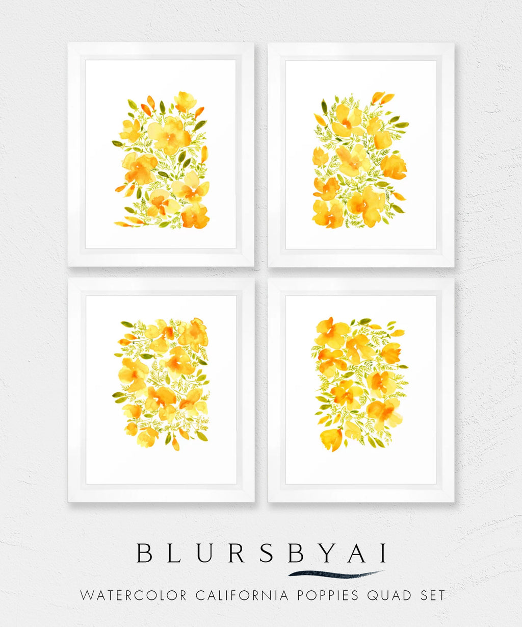 Set of four - Printable watercolor illustrations of California poppies