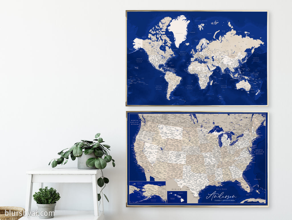"Set of two map prints on paper: USA and the world in matching style, brown and navy blue. ""Kameryn"""