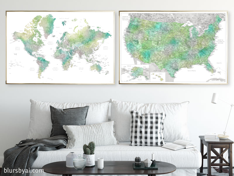 "Set of two map prints on paper: USA and the world in matching style. ""Oriole"""