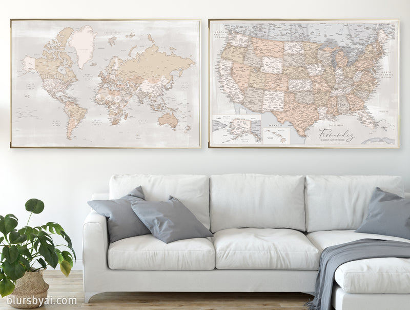 "Set of two map prints on paper: USA and the world in rustic matching style. ""Lucille"""