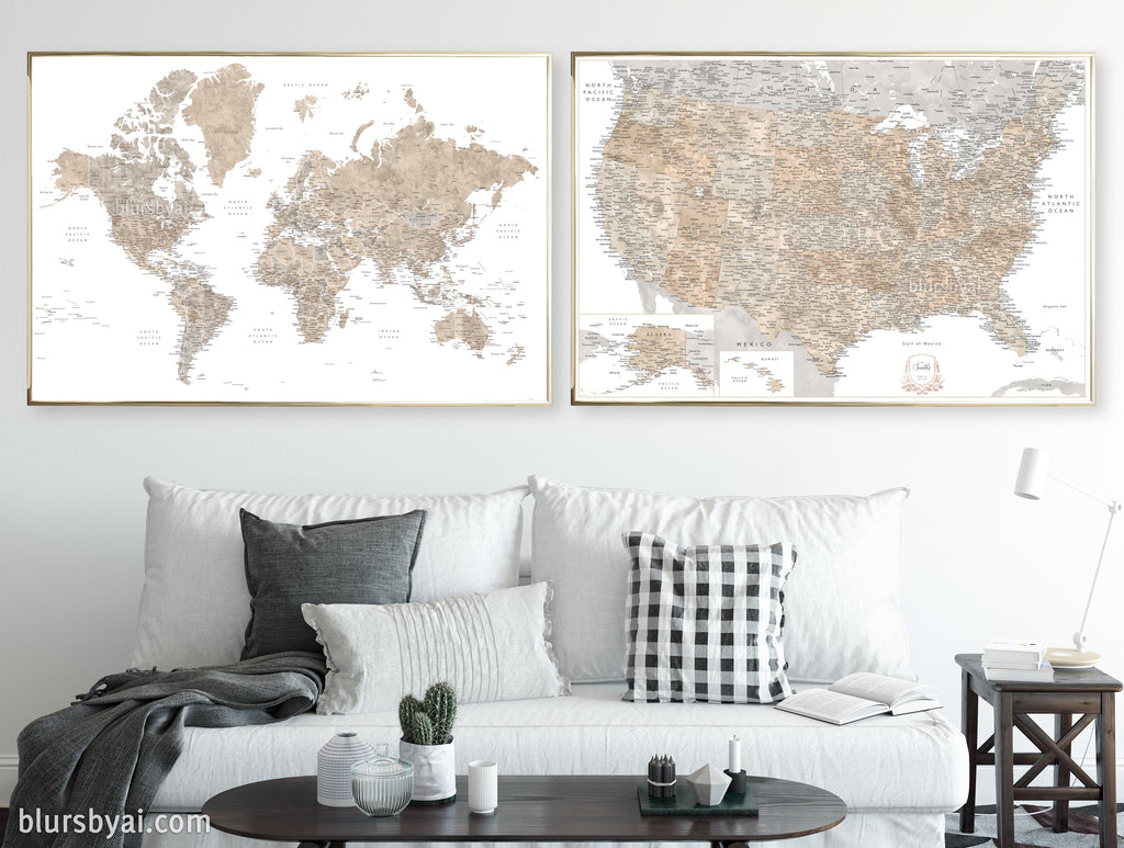 "Set of two map prints on paper: USA and the world in neutral matching style. ""Abey"""