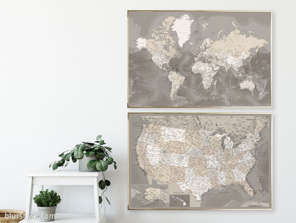 "Set of two map prints on paper: USA and the world in matching style. ""Davey"""