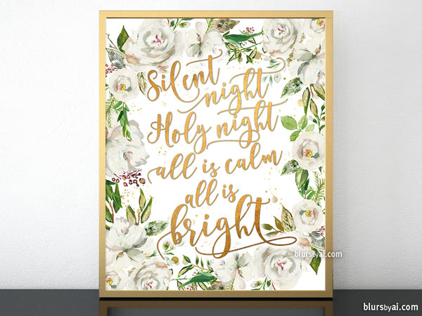 Silent night lyrics printable Christmas decor, in gold and white florals