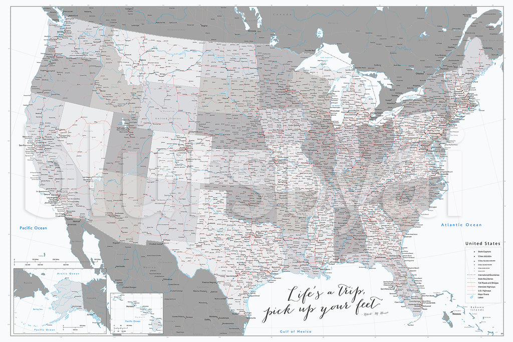 "Custom US map print: highly detailed map of the US with roads. ""Brennan"""