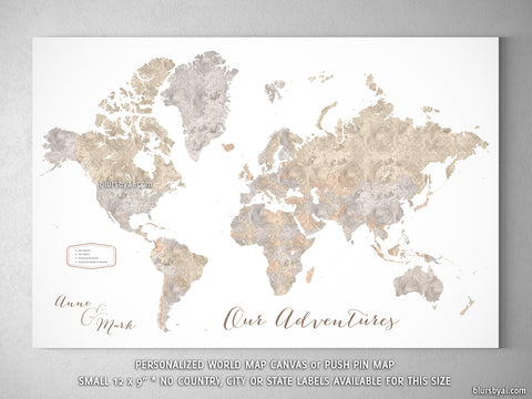 "Small personalized world map canvas print or push pin map, 12x9"", ""Abey"""