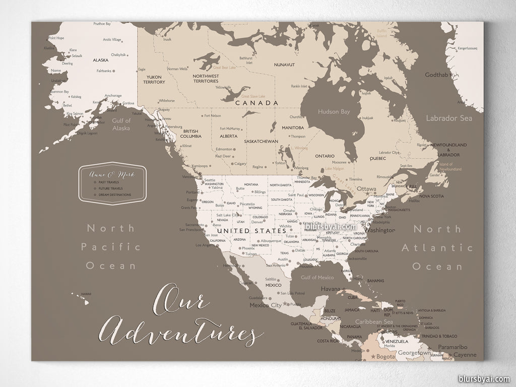 Small personalized north america canvas print or push pin map 12x9 small personalized north america canvas print or push pin map 12x9 gumiabroncs Choice Image