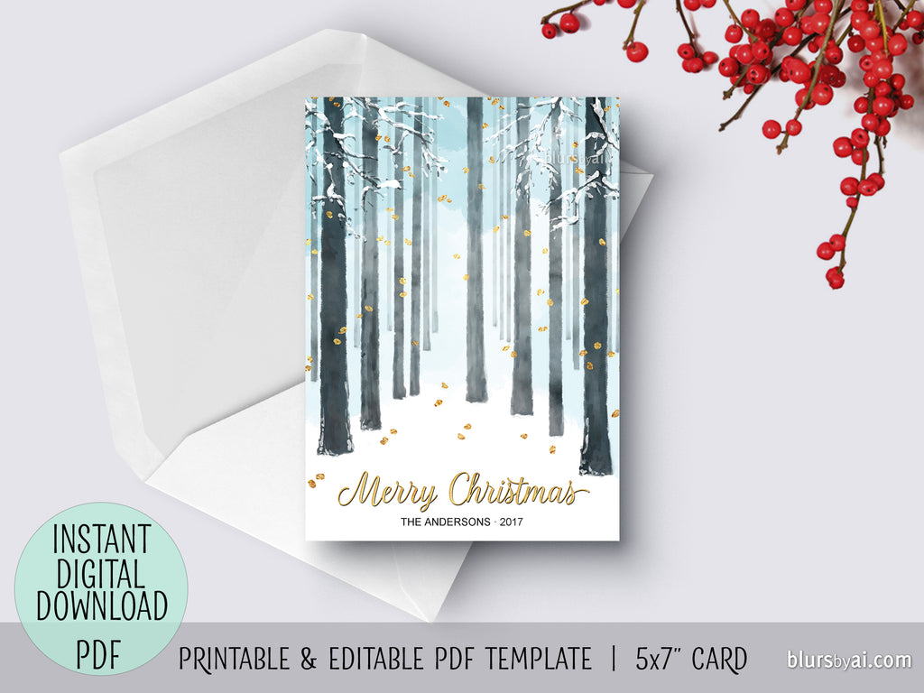 Editable pdf Christmas card template: snow forest Merry Christmas