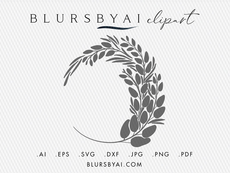 Vector greenery silhouette wreath, hand illustrated clipart and cuttable file (svg, eps, ai...)