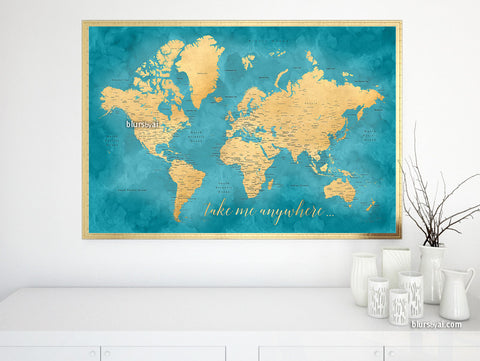 "Printable teal and gold world map with cities, 36x24"", take me anywhere..."