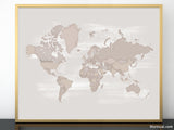 Taupe distressed printable world map, sizes from 10x8 to 60x40""