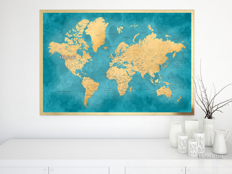"Printable teal and gold world map with cities, 36x24"" - For personal use only"