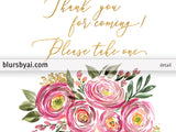 Thank you for coming please take one, printable favors sign, pink watercolor ranunculus