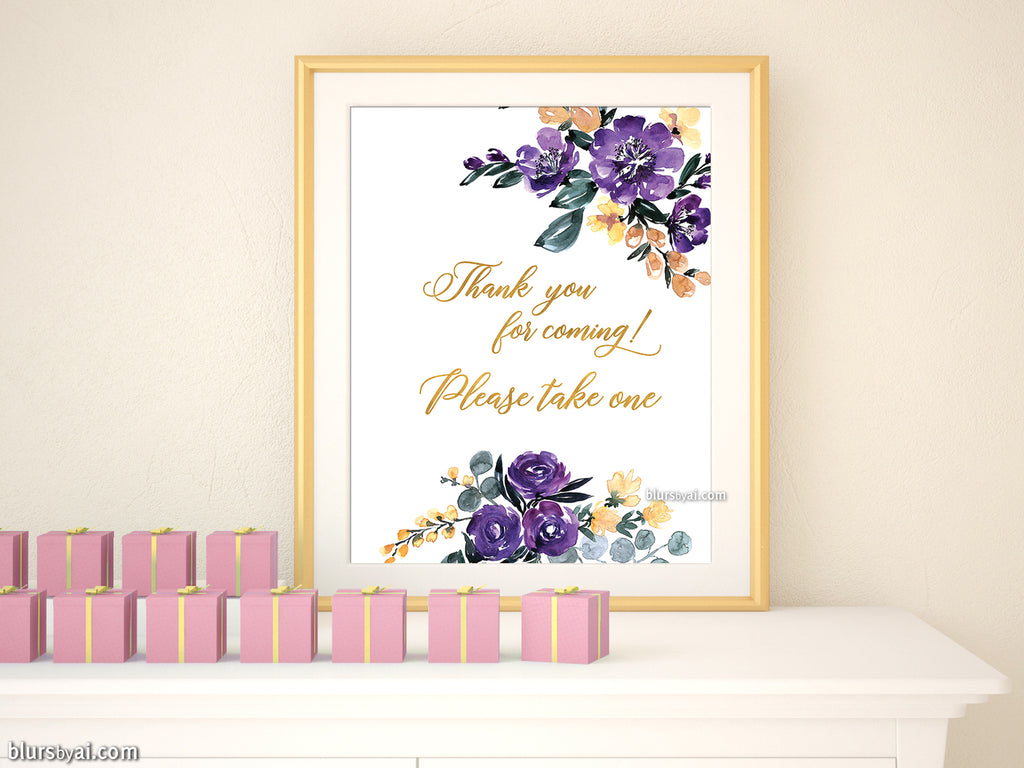 Thank you for coming please take one, printable favors sign, gold and purple watercolor floral