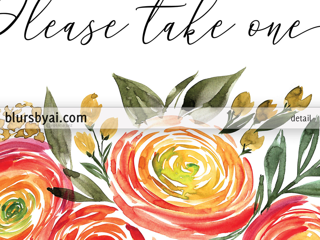 image about Please Take One Sign Printable known as Thank by yourself for coming you should just take one particular, printable favors indicator with watercolor ranunculus