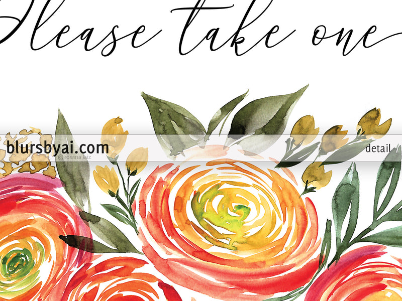 Thank you for coming please take one, printable favors sign with watercolor ranunculus