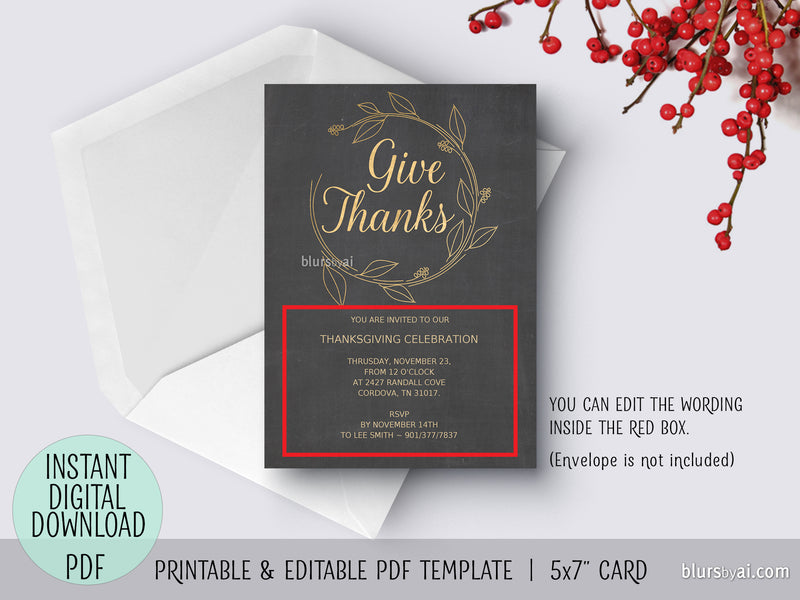 Editable pdf Thanksgiving invitation template: Give Thanks